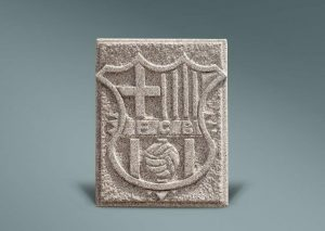 Escudo en granito del Barcelona
