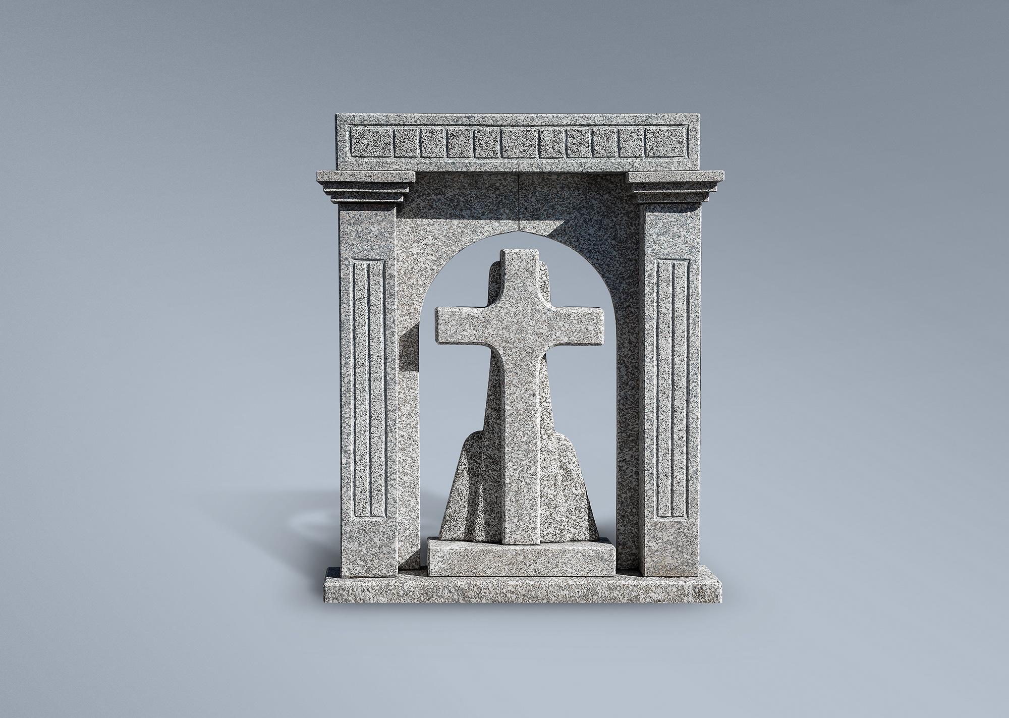 Frente de panteón con cruz en arco